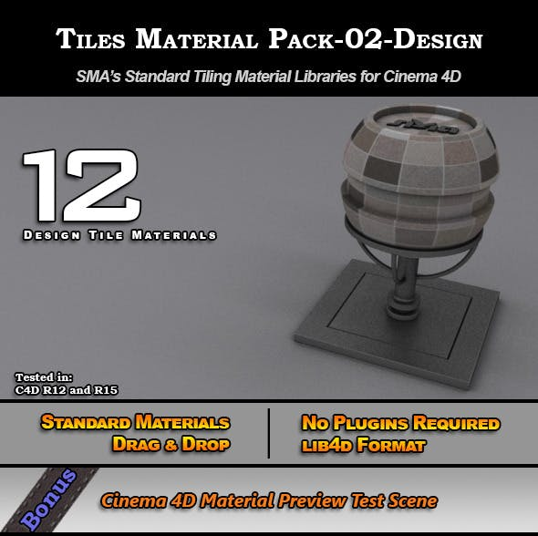 Standard Tiles Material Pack-02-Design for C4D  - 3DOcean Item for Sale