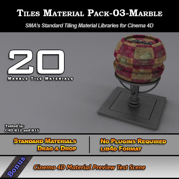 Standard Tiles Material Pack-03-Marble for C4D  - 3DOcean Item for Sale