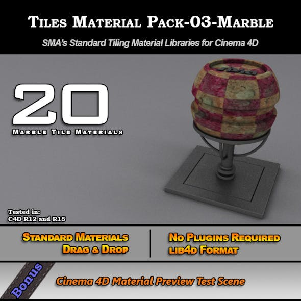 Standard Tiles Material Pack-03-Marble for C4D