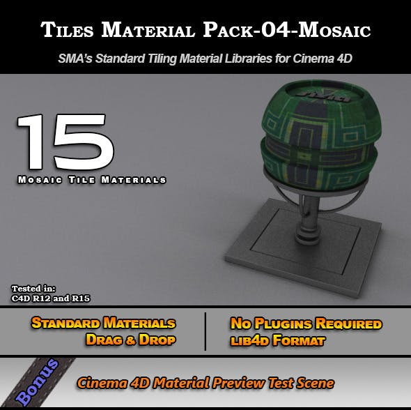 Standard Tiles Material Pack-04-Mosaic for C4D - 3DOcean Item for Sale