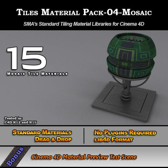 Standard Tiles Material Pack-04-Mosaic for C4D