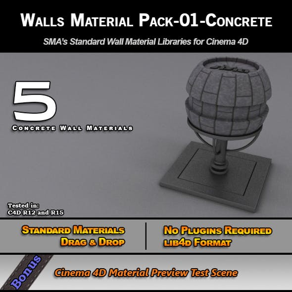 Standard Walls Material Pack-01-Concrete for C4D