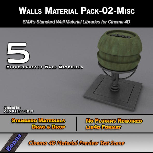 Standard Walls Material Pack-02-Misc for C4D