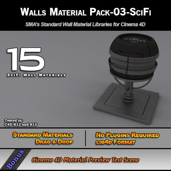 Standard Walls Material Pack-03-SciFi for C4D