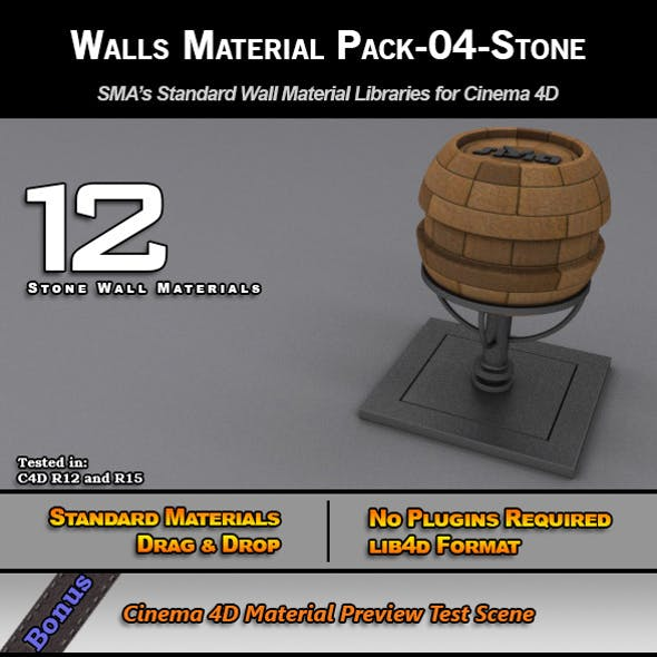 Standard Walls Material Pack-04-Stone for C4D