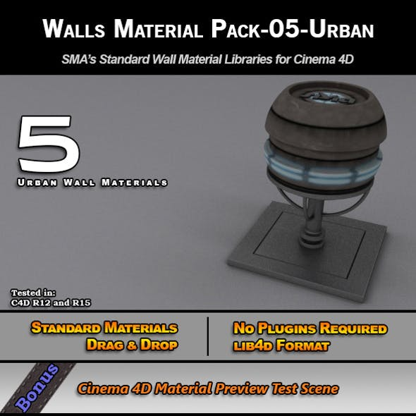 Standard Walls Material Pack-05-Urban for C4D