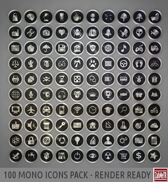 100 Mono Icons Mixed Pack - 3DOcean Item for Sale
