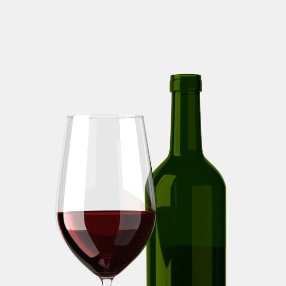 Glas of Red Wine with Bottle