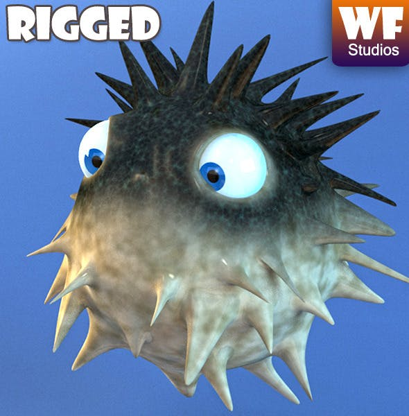 Cartoon Puffer Fish - Rigged - 3DOcean Item for Sale