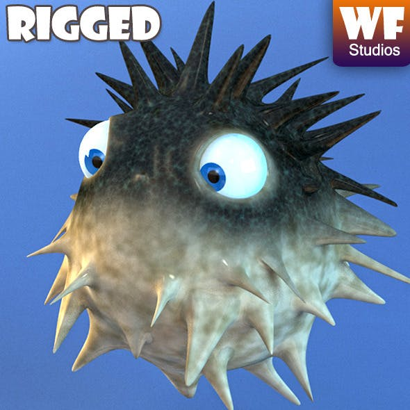 Cartoon Puffer Fish - Rigged