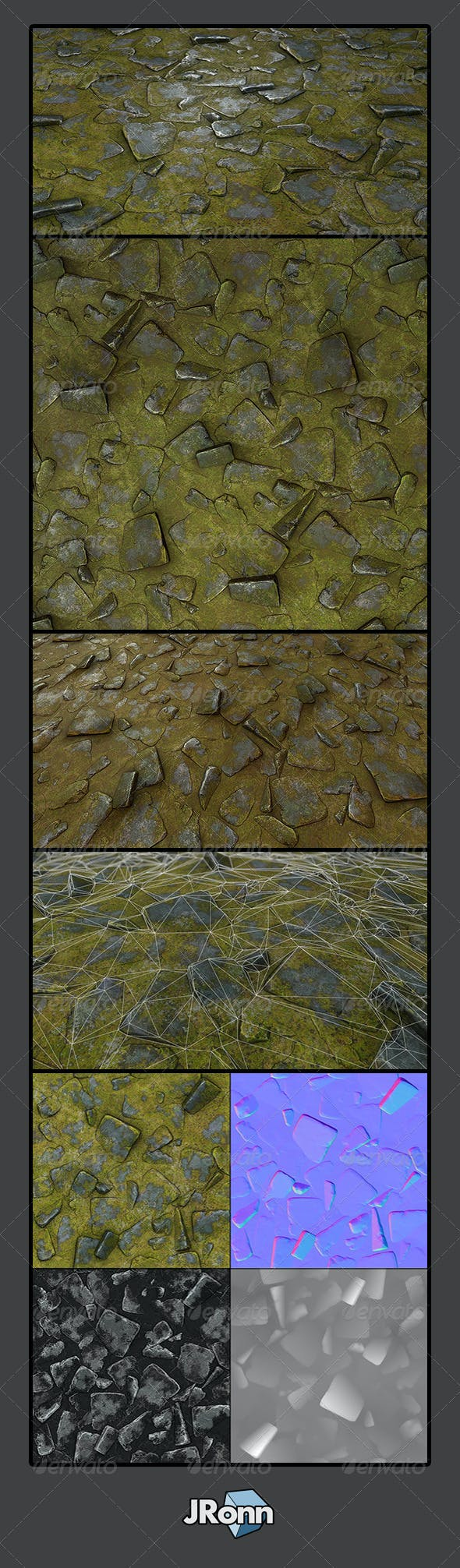 Grassy Stone Road Tile 02 - 3DOcean Item for Sale