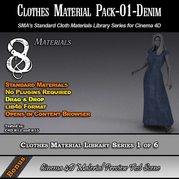 Standard Clothes Material Pack-01-Denim for C4D
