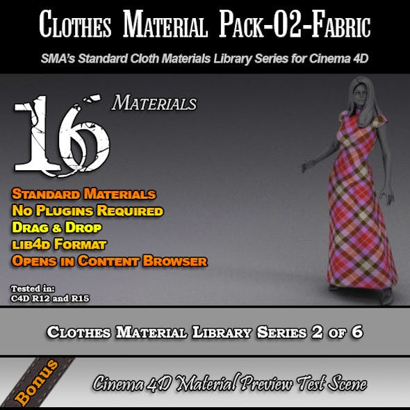 Standard Clothes Material Pack-02-Fabric for C4D