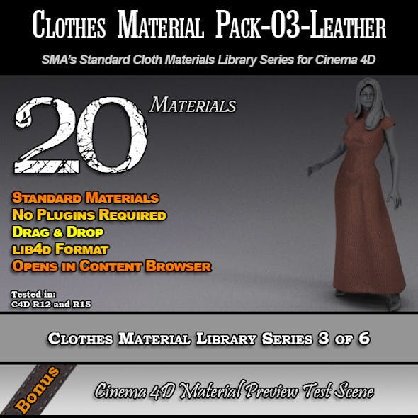 Standard Clothes Material Pack-03-Leather for C4D