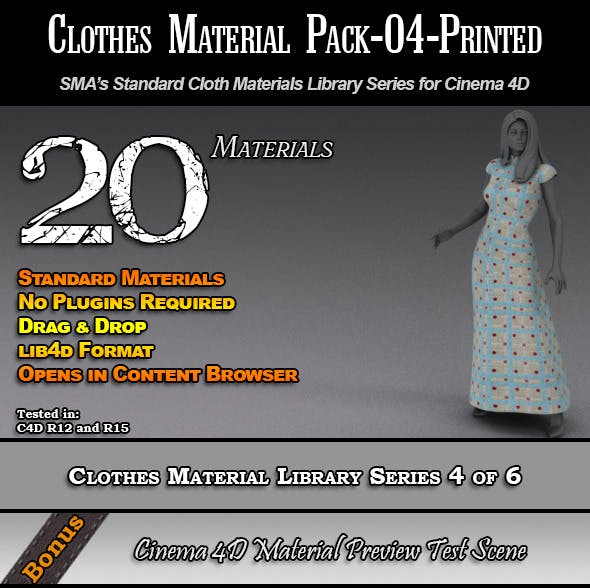 Standard Clothes Material Pack-04-Printed for C4D - 3DOcean Item for Sale