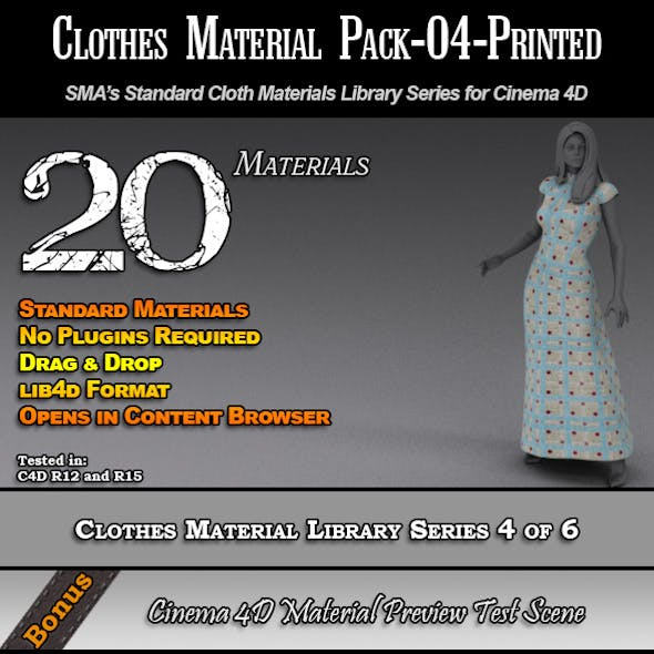 Standard Clothes Material Pack-04-Printed for C4D