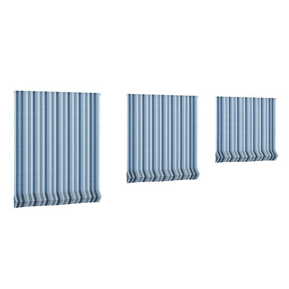 Blue Striped Roman Blinds - 3DOcean Item for Sale