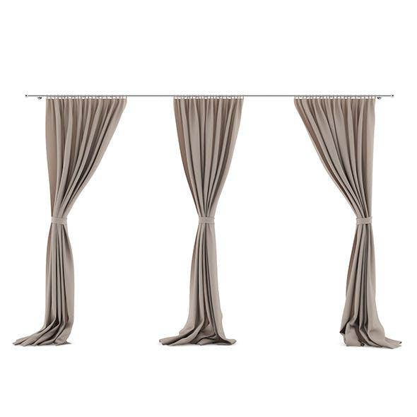 Beige Triple Curtains - 3DOcean Item for Sale