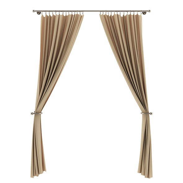 Beige Curtains - 3DOcean Item for Sale