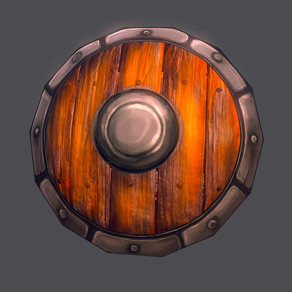 Low poly shield hand painted