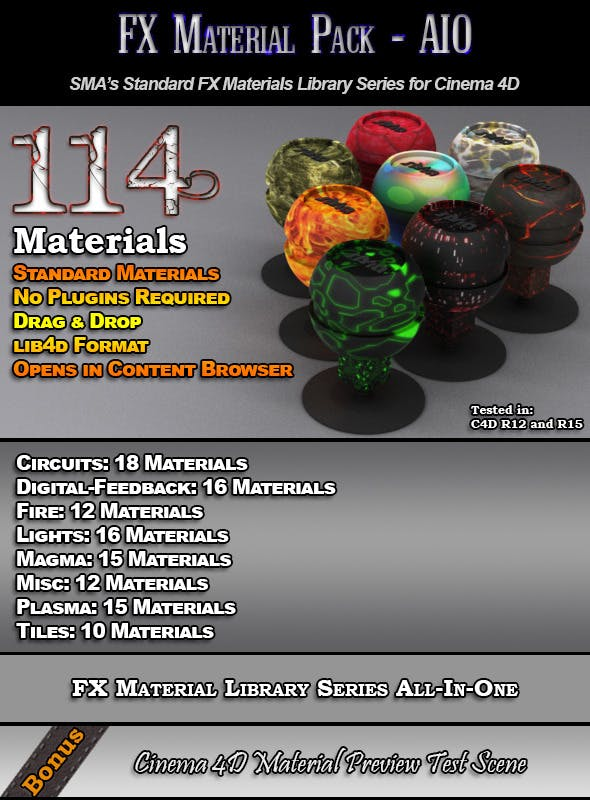 114 Standard FX Materials Pack AIO for Cinema 4D - 3DOcean Item for Sale