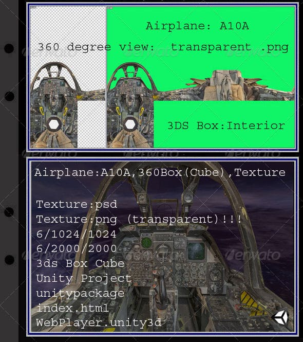 Airplane A10A interior - 3DOcean Item for Sale