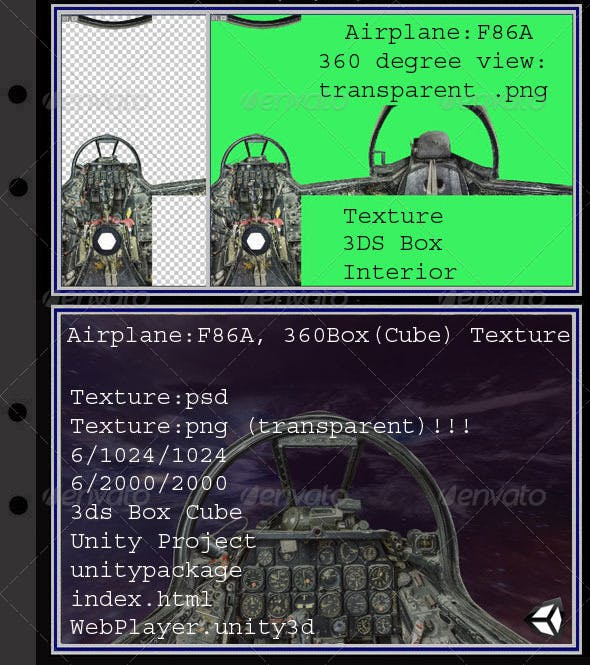 Airplane F86A interior - 3DOcean Item for Sale