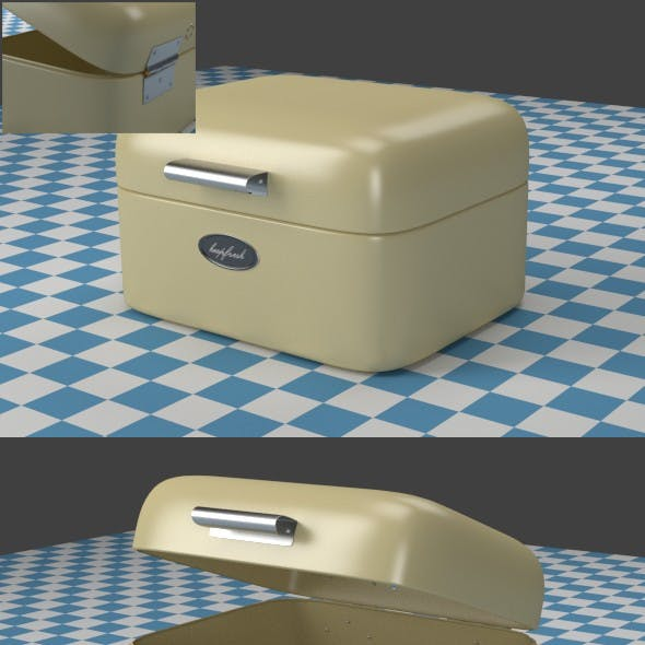 A small oldwhite Breadbox