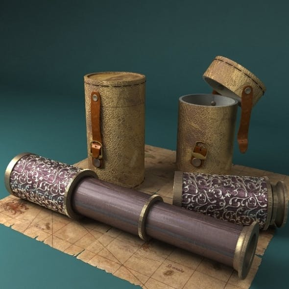 Telescope With Case and Pirate Map - 3DOcean Item for Sale
