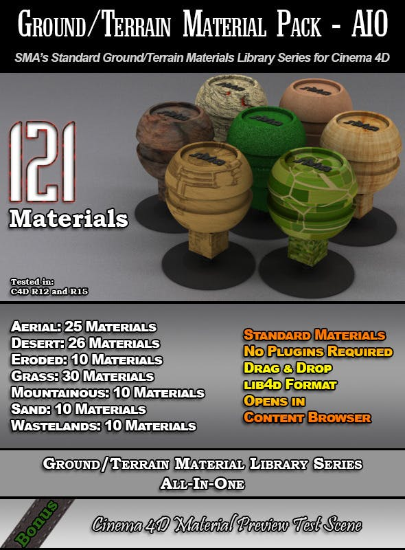 121 Standard Ground/Terrain Materials-AIO for C4D - 3DOcean Item for Sale