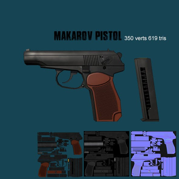 Low poly makarov pistol - 3DOcean Item for Sale