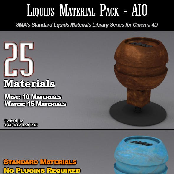 25 Standard Liquids Materials Pack AIO for C4D
