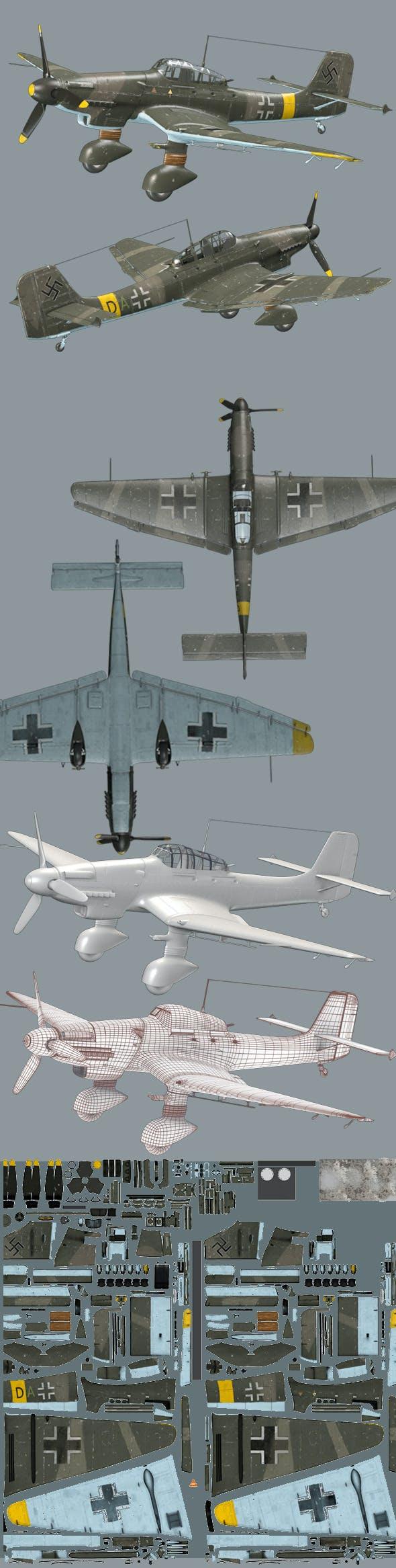 Junker JU87D - 3DOcean Item for Sale