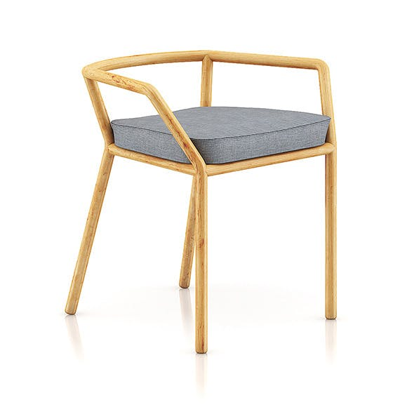 Wooden Chair with Pillow 1 - 3DOcean Item for Sale