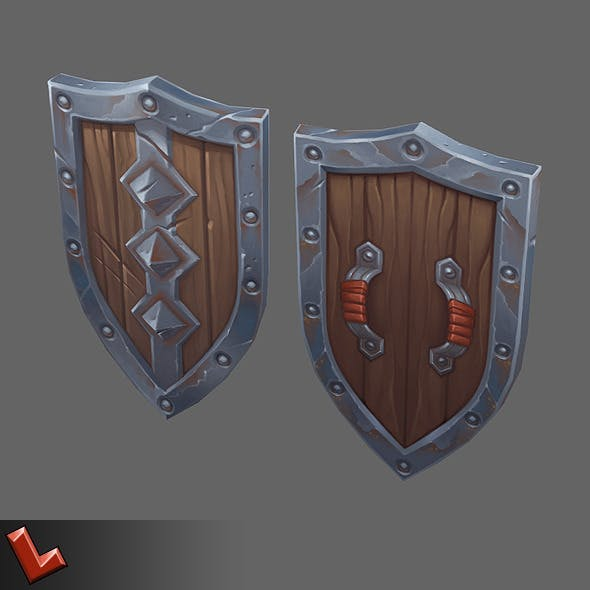 Low poly hand painted shield [Militia 06]