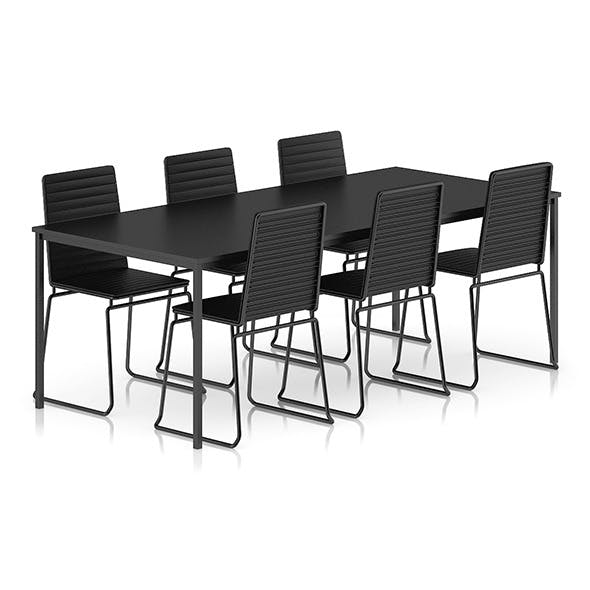 Black Table and Chairs Set - 3DOcean Item for Sale