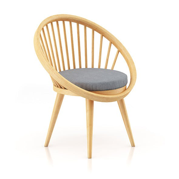 Wooden Chair wit Pillow 4 - 3DOcean Item for Sale