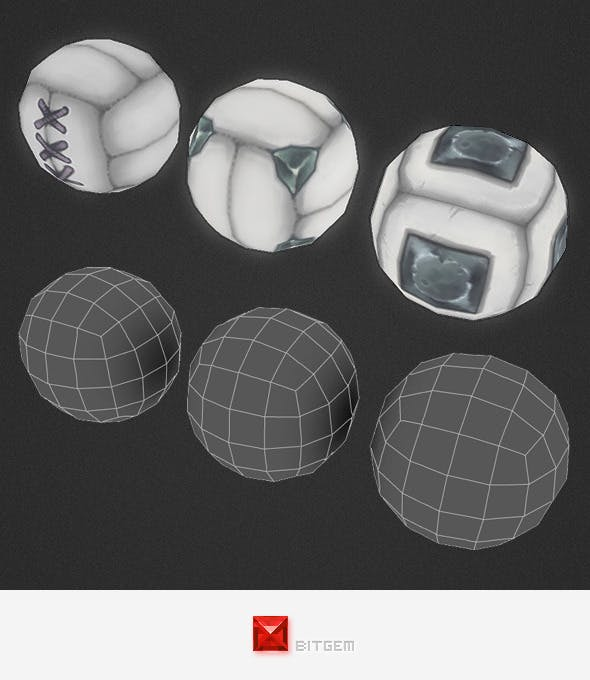 Low Poly Ball Set - 3DOcean Item for Sale
