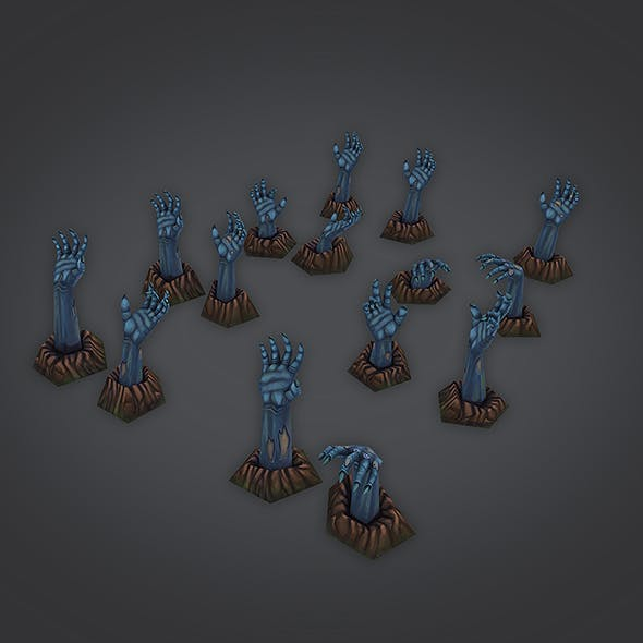 low poly zombie hands set