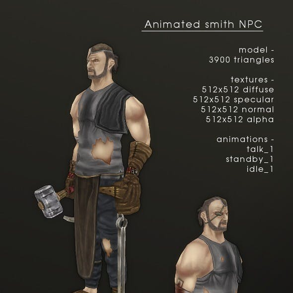 LowPolygon Stylized handpainted Smith NPC