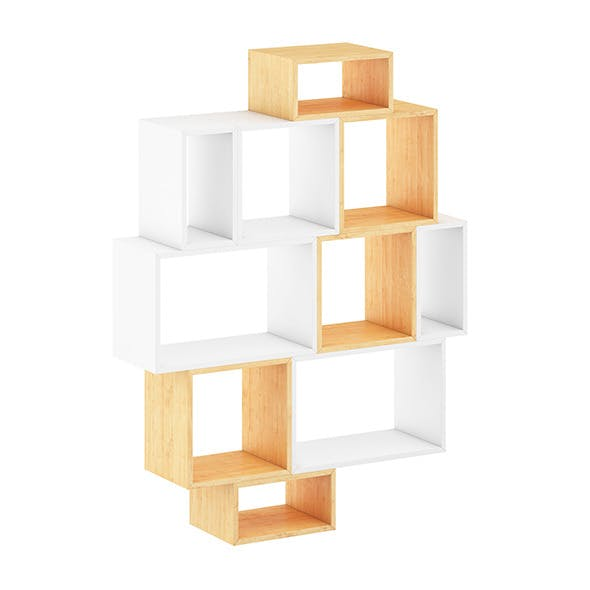 White and Wood Shelf - 3DOcean Item for Sale