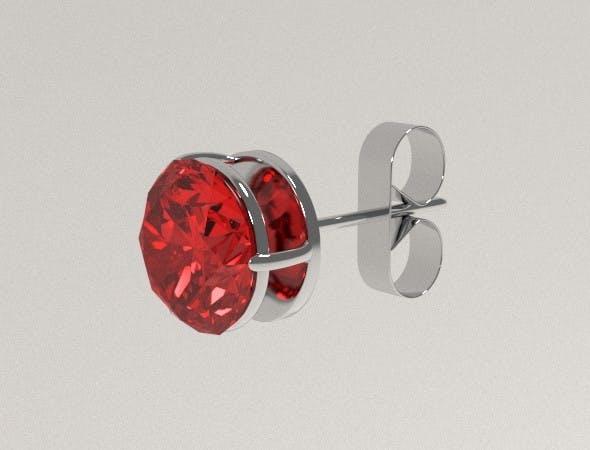 Silver Ear Stud with Rubin - 3DOcean Item for Sale