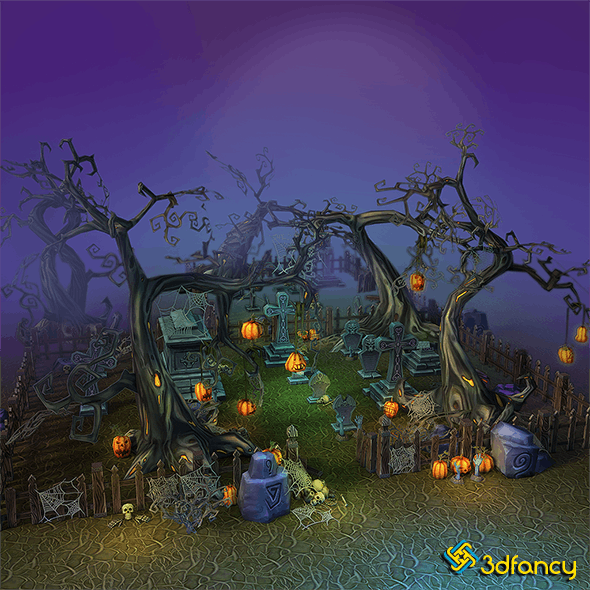 Low Poly Cemetery Halloween Set