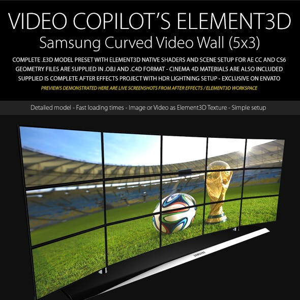 Element3D - Samsung Video Wall (Curved 5x3)