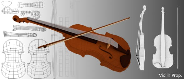 Low Poly Violin Mesh - 3DOcean Item for Sale