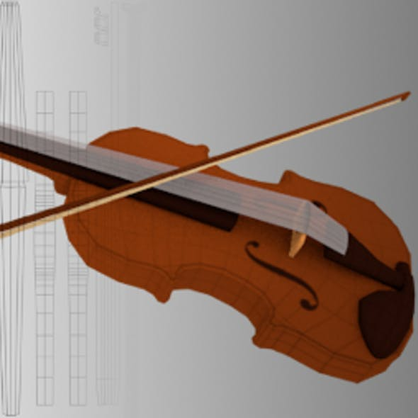 Low Poly Violin Mesh