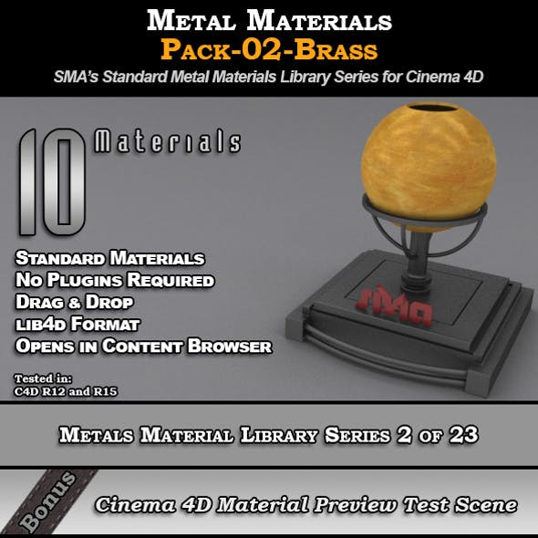 Metals Material Pack-02-Brass for Cinema 4D