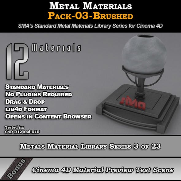Metals Material Pack-03-Brushed for Cinema 4D