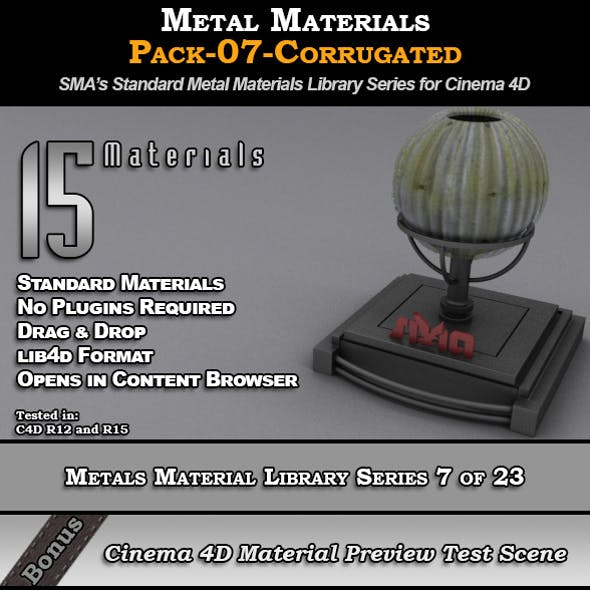 Metals Material Pack-07-Corrugated for Cinema 4D