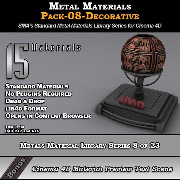 Metals Material Pack-08-Decorative for Cinema 4D - 3DOcean Item for Sale
